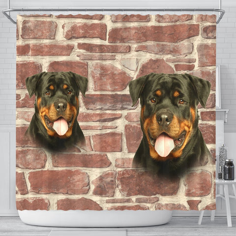 Amazing Rottweiler Dog Print Shower Curtains-Free Shipping