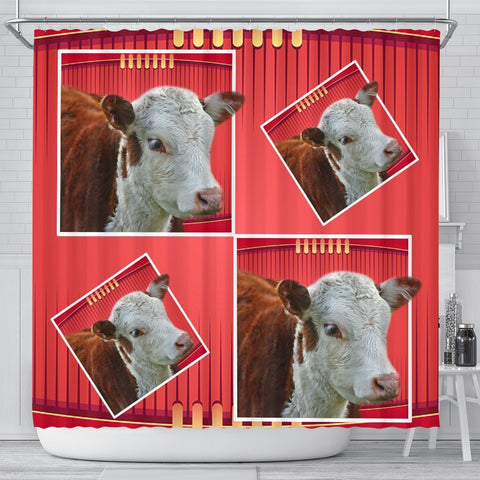 Cute Hereford Cattle Cow Print Shower Curtain Free Shipping Pawfeel