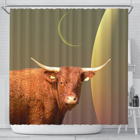 Salers Cattle (Cow) Print Shower Curtain-Free Shipping