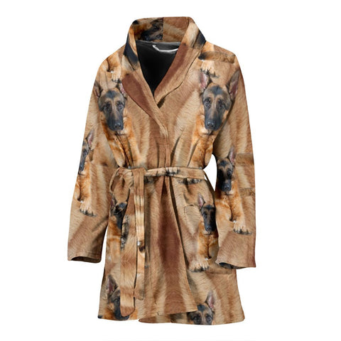 German Shepherd Dog Print Women's Bath Robe-Free Shipping