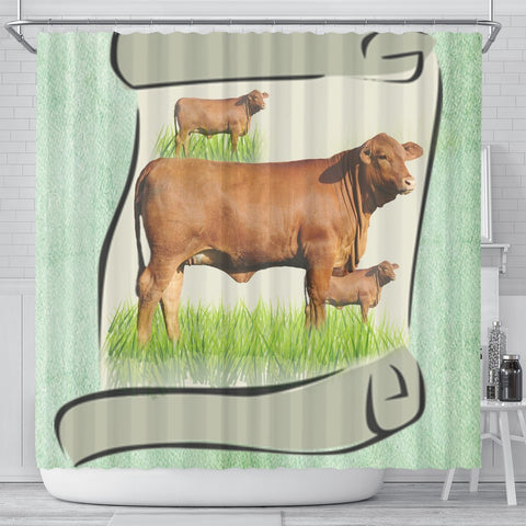 Red Brangus Cattle (Cow) Art Print Shower Curtain-Free Shipping