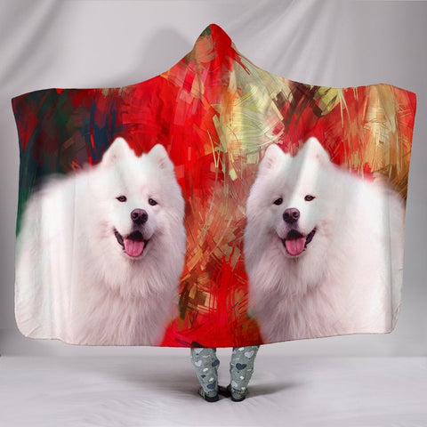 Cute American Eskimo Print Hooded Blanket-Free Shipping