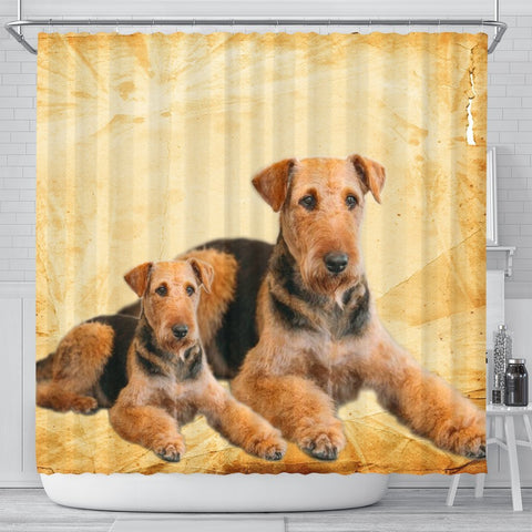 Airedale Terrier Print Shower Curtains-Free Shipping