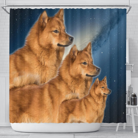 Finnish Spitz Print Shower Curtains-Free Shipping