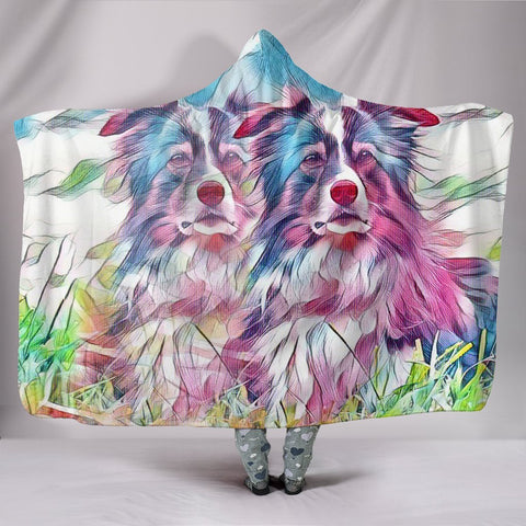 Border Collie Dog Art Print Hooded Blanket-Free Shipping