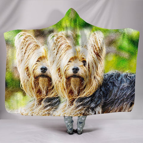 Yorkshire Terrier Pencil Color Art Print Hooded Blanket-Free Shipping