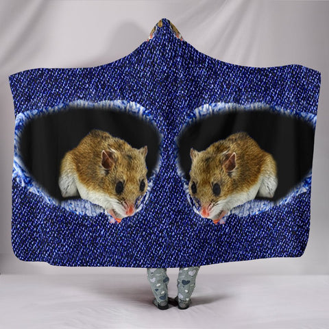 Lovely Chinese Hamster Print Hooded Blanket-Free Shipping