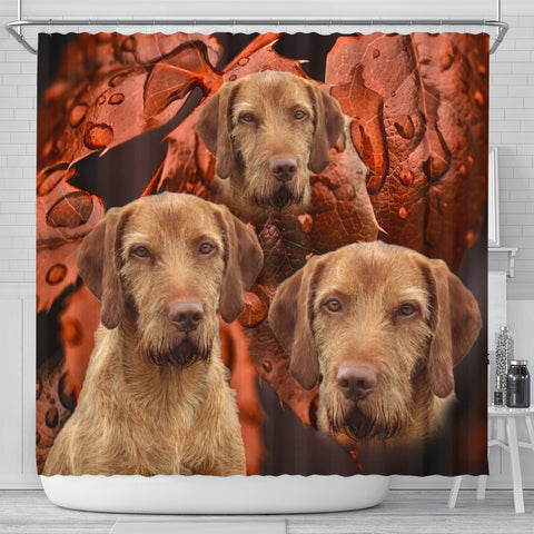Wirehaired Vizsla Dog Print Shower Curtains-Free Shipping