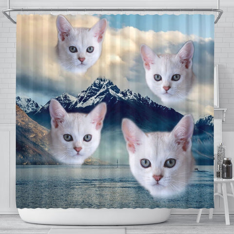 Burmilla Cat Print Shower Curtains-Free Shipping