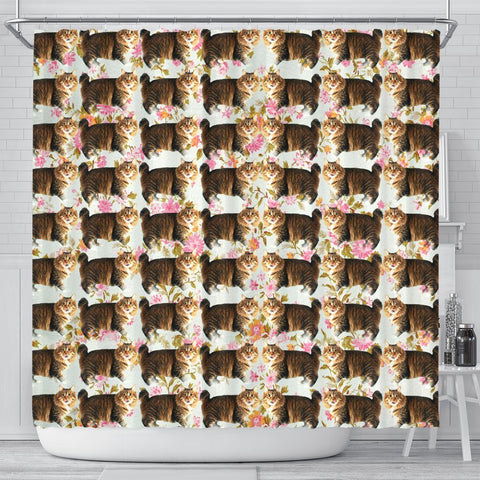 American Bobtail Cat Floral Print Shower Curtains-Free Shipping