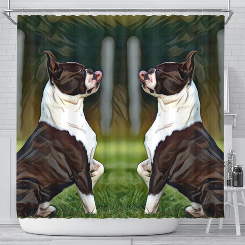 Boston Terrier Dog Paint Art Print Shower Curtains-Free Shipping