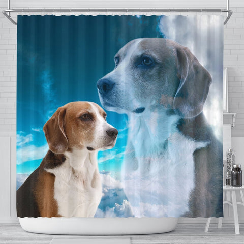 English Foxhound On Sky Blue Print Shower Curtains-Free Shipping
