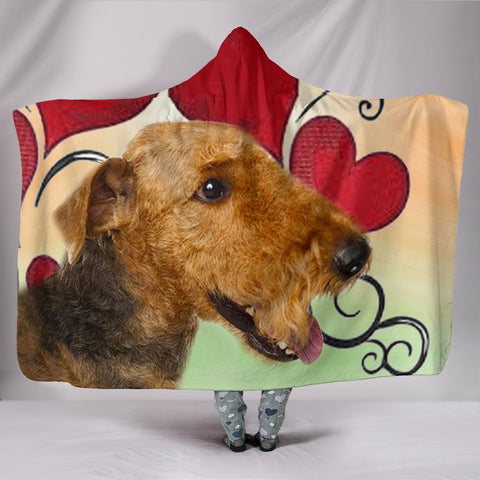 Airedale Terrier Print Hooded Blanket-Free Shipping
