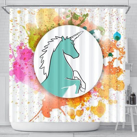 Colorful Unicorn Print Shower Curtain-Free Shipping
