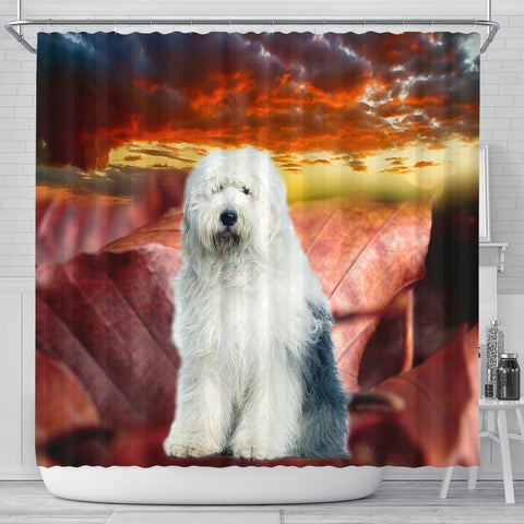 Old English Sheepdog Print Shower Curtains-Free Shipping