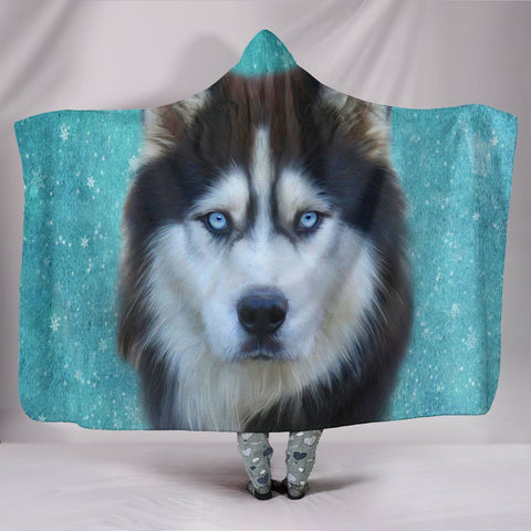 Siberian Husky Dog Print Hooded Blanket-Free Shipping