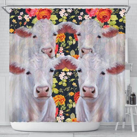 Charolais Cattle (Cow) Print Shower Curtains-Free Shipping