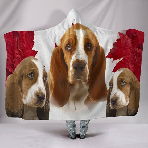 Cute Basset Hound Print Hooded Blanket-Free Shipping