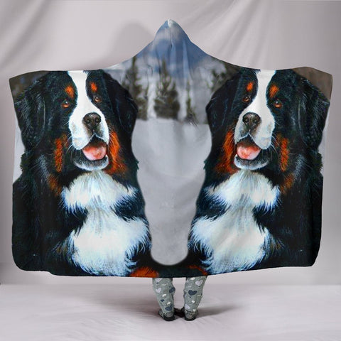 Amazing Bernese Mountain Dog Print Hooded Blanket-Free Shipping