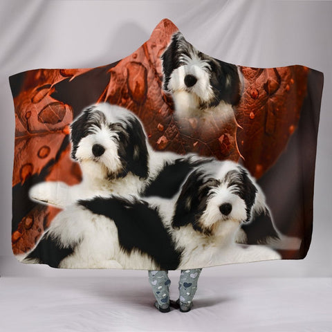 Cute Polish Lowland Sheepdog Print Hooded Blanket-Free Shipping