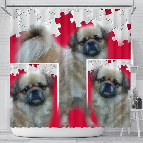 Tibetan Spaniel Print On Red Puzzle Shower Curtain-Free Shipping