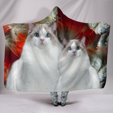 Ragdoll Cat Print Hooded Blanket-Free Shipping
