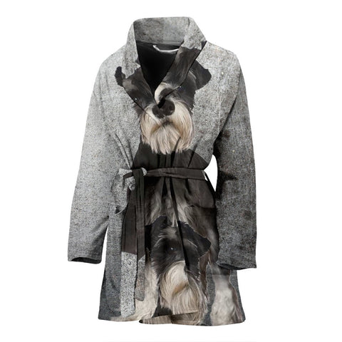 Miniature Schnauzer Print Women's Bath Robe-Free Shipping