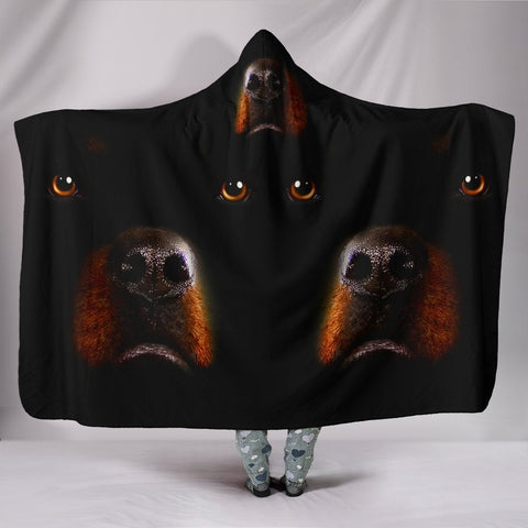 Rottweiler Dog Print Black Hooded Blanket-Free Shipping