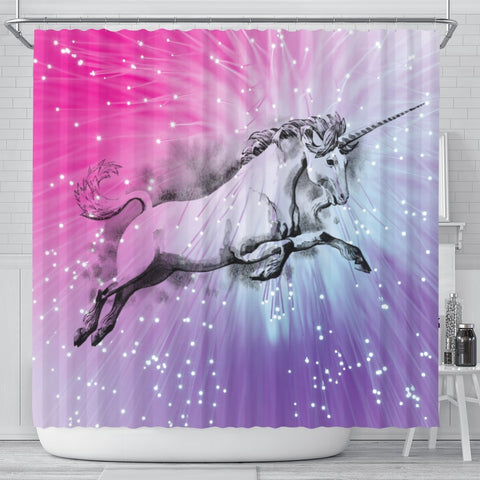 Amazing Unicorn Print Shower Curtain-Free Shipping