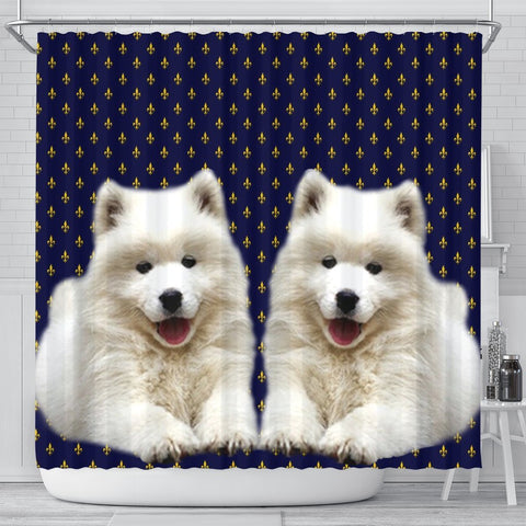 Cute Samoyed Dog Print Shower Curtains-Free Shipping