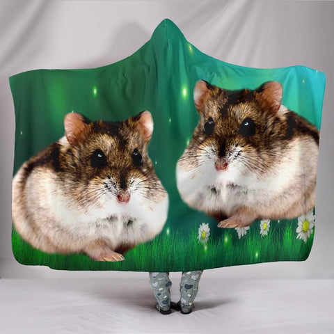 Campbell Dwarf Hamster Print Hooded Blanket-Free Shipping