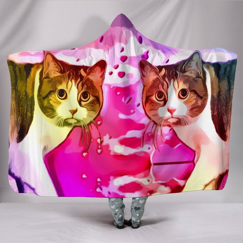 Cute Manx Cat Print Hooded Blanket-Free Shipping
