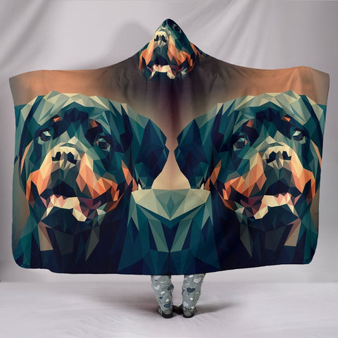 Rottweiler Dog Vector Art Print Hooded Blanket-Free Shipping