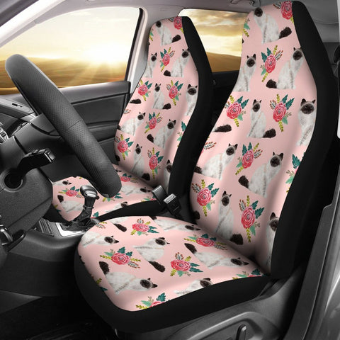 Birman Cat Floral Print Car Seat Covers-Free Shipping