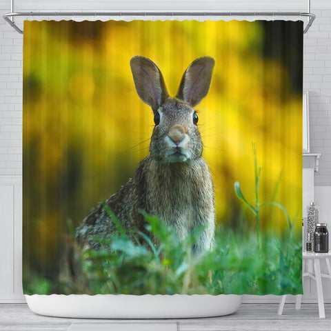 Cute Rabbit Print Shower Curtains-Free Shipping