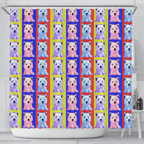Westie Colorful Pattern Print Shower Curtains-Free Shipping
