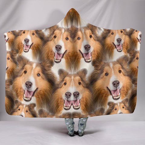 Laughing Shetland Sheepdog Print Hooded Blanket-Free Shipping