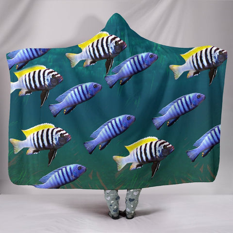 Cynotilapia Afra Fish Print Hooded Blanket-Free Shipping