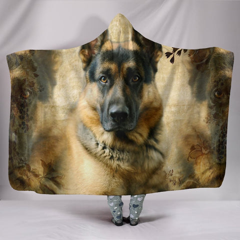 German Shepherd On Brown Print Hooded Blanket-Free Shipping