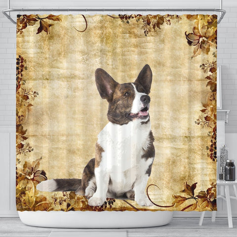 Lovely Cardigan Welsh Corgi Print Shower Curtains-Free Shipping