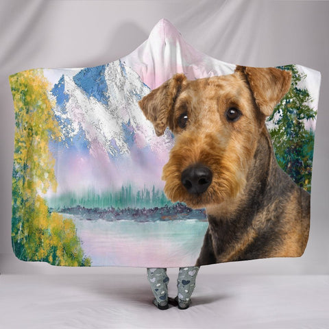Cute Airedale Terrier Print Hooded Blanket-Free Shipping