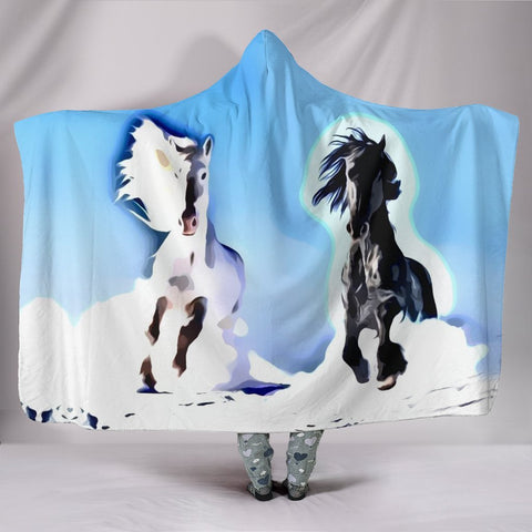 Andalusian horse Print Hooded Blanket-Free Shipping