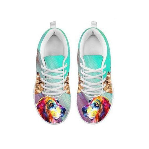 Painted Basset Hound Print Running Shoes For Women-Free Shipping-For 24 Hours Only