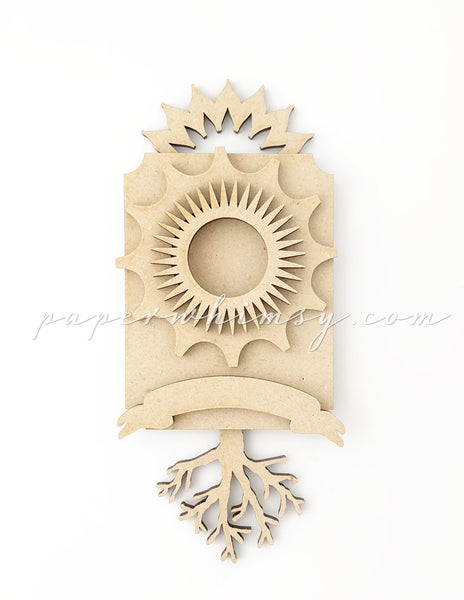 Odd Ornament - Cog & Tree - paperwhimsy