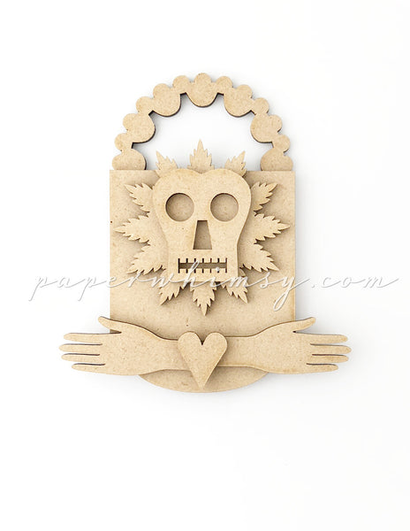 Odd Ornament - Feathered Skelly - paperwhimsy