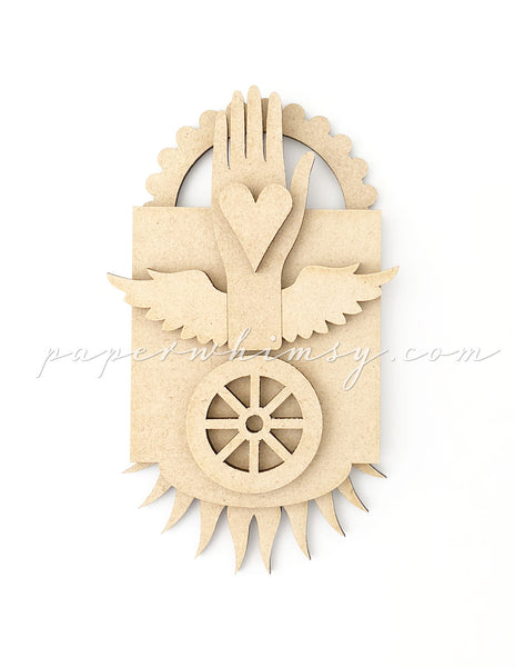 Odd Ornament - Hand Heart Wheel - paperwhimsy