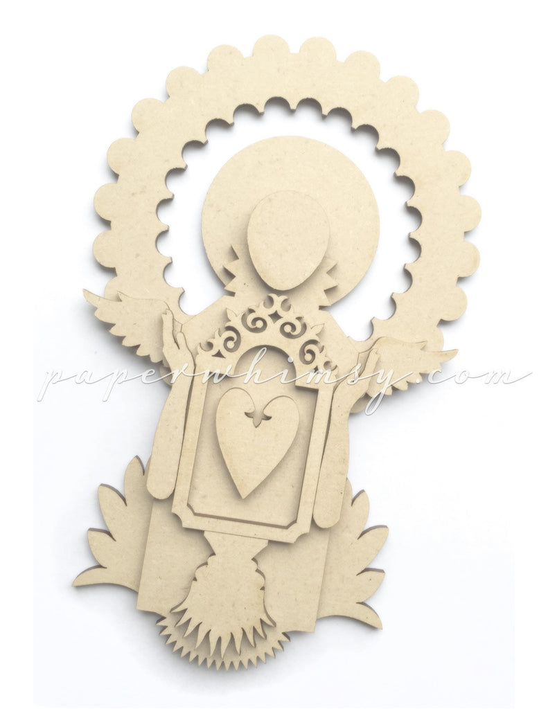 Curious Medallion Angel - paperwhimsy