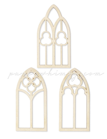 Curious Gothic Window Trio - paperwhimsy