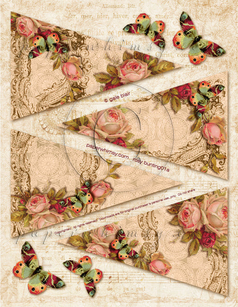 Rosy Bunting PDF - paperwhimsy