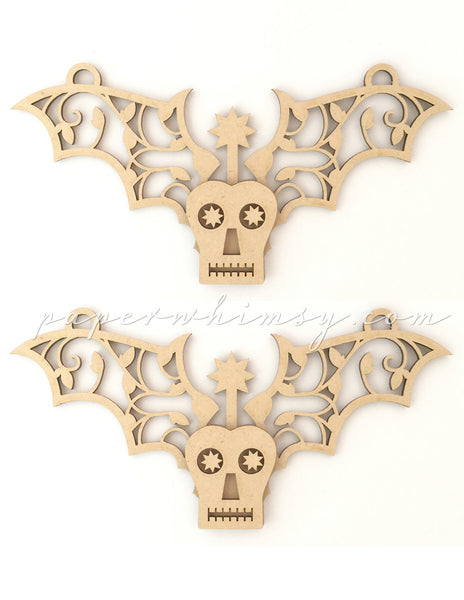 Ornate Winged Skelly - paperwhimsy